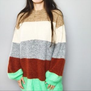H&M Mohair Wool Blend Colorblock Sweater XS